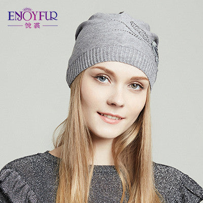 ENJOYFUR women's beanies hat for Spring Autumn knitted with flower and rhinestone design street style caps 2017 new arrival hats