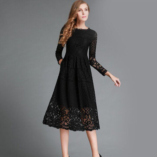 New Summer Fashion Hollow Out Elegant White Lace Elegant Party Dress High Quality Women Long Sleeve Casual Dresses H016 - Hespirides Gifts - 2