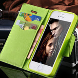 For iPhone 4S Cases New Affordable Hit Color Leather Ultra Flip Case For iPhone 4 4S 4G Card Holder Stand Cover Mobile Phone Bag - Hespirides Gifts - 1
