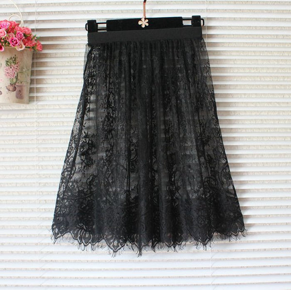 Fashion women sexy skirt lace mesh tulle pencil skirt transparent mini summer high waist short black vintage white lace skirts