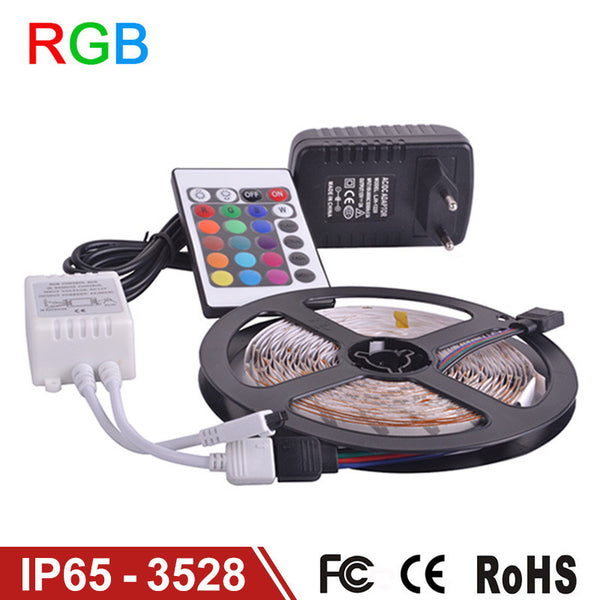 Waterproof LED RGB strip light SMD3528 IP65 Fiexble Light 60LED/M 5M DC 12V Adapter Power 2A RGB strip lamp bulb - Hespirides Gifts