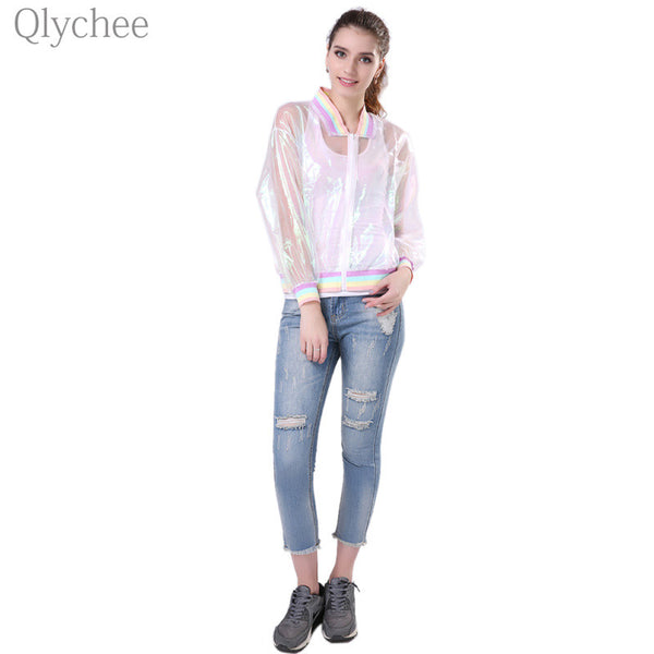 Qlychee Harajuku Summer Women Jacket Laser Rainbow Sunscreen Sunproof Symphony Coat Clear iridescent Transparent Jersey Jacket