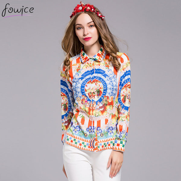 Newest Plus Size 3XL Sicily Style Fashion Printing Women Spring Slim Shirt Retro Ethnic Style Turn-down Collar Female Blouse