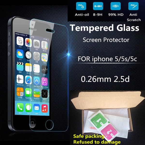 Ultra Thin 0.26 mm 2.5D Premium Tempered Glass Screen Protector For iPhone 5 5S 5c HD Toughened Protective Film + Cleaning Kit - Hespirides Gifts