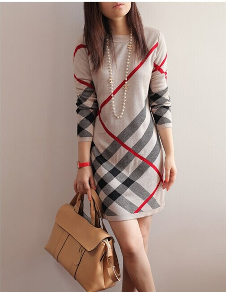 Women Spring and Autumn dress new women's wool knitted large size long-sleeve stripe one-piece warm wool sweater dress - Hespirides Gifts - 2