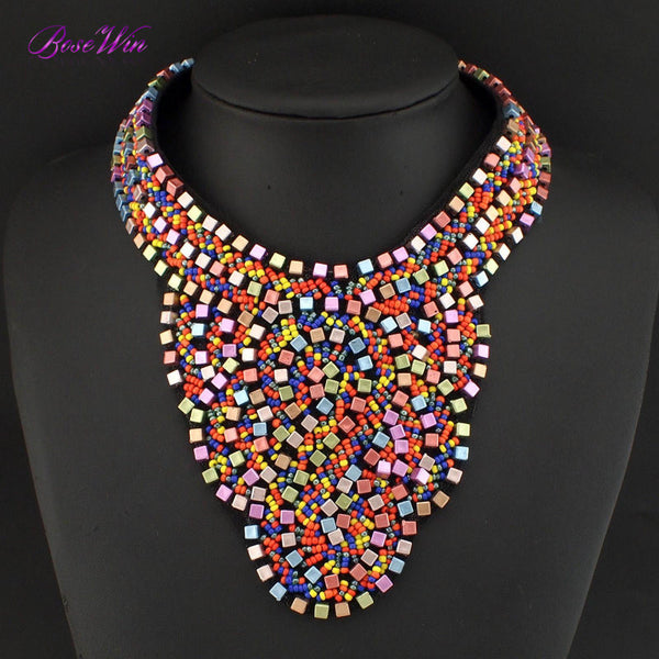 Fashion Ethnic Style Jewelry Big Collars Chokers Multicolor Beads Boho Women Handmade Statement Necklaces Bijoux Femininas CE708 - Hespirides Gifts - 2