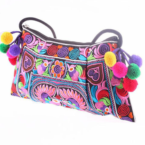 Hot sale Embroidered bags National trend handmade fabric embroidery one shoulder cross-body women messenger Clutch handbag - Hespirides Gifts - 1