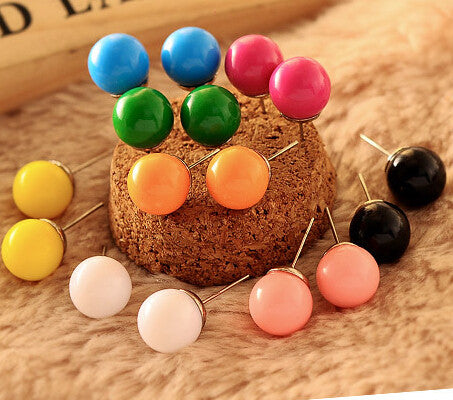 min $ 7 (mix order) Round candy sweet Elisha Japan Stud Earrings QQ candy circle earring simple fashion Earrings For Women - Hespirides Gifts