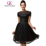 Grace Karin Lace Robe De Cocktail Dress 2017 New Short Sleeve Vestido De Festa Knee Length Black Party Special Occasion Dress