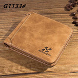 High quality men's retro matte PU leather Wallets men Wholesale short leather wallets card holders purse for men - Hespirides Gifts - 12
