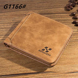 High quality men's retro matte PU leather Wallets men Wholesale short leather wallets card holders purse for men - Hespirides Gifts - 7