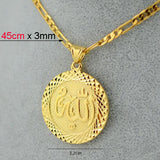 "Gold/Silver Men allah pendant necklace chain 18""/24"" gold plated filled 18k middle east jewelry women arab muslim item islam 925 - Hespirides Gifts - 4"