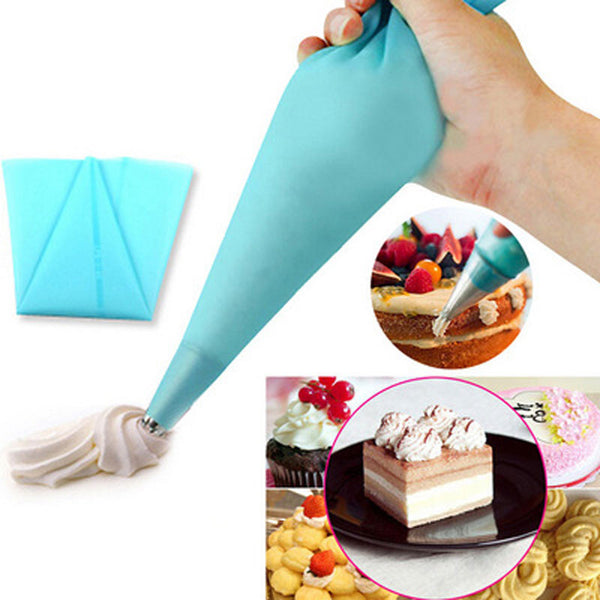 Buy Reusable Silicone Icing Piping Cream Pastry Bag Cake ...