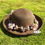 Summer Handmade flower strawhat women's Garland sunbonnet bucket hat roll-up hem beach cap sun hat for women