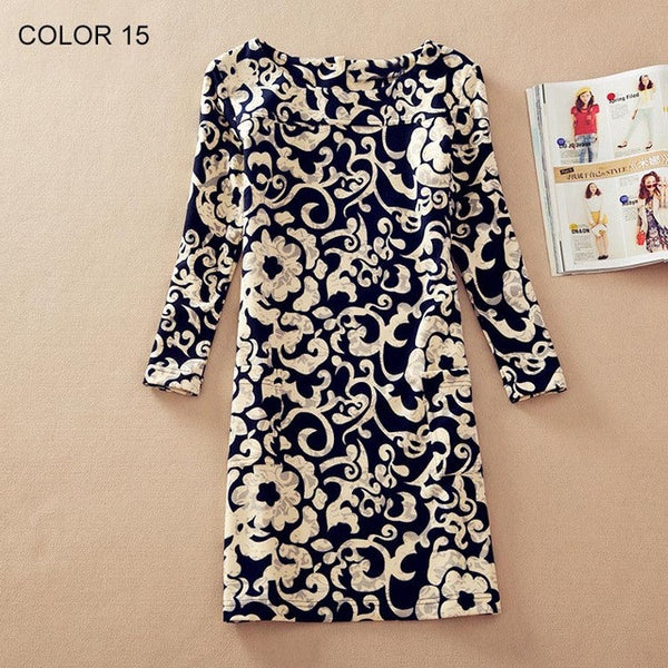Women Winter dresses 2016 long sleeve Fall Dresses Ladies Vintage Floral Print Women Dress Casual Autumn Dress Plus size Clothes