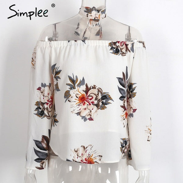 Simplee Floral print off shoulder chiffon blouse Women tops halter cool long sleeve female blouse shirt Sexy loose white blusas