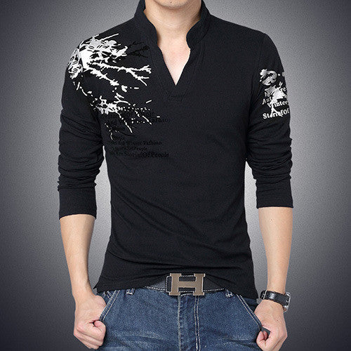New Fashion Brand Trend Print Slim Fit Long Sleeve T Shirt Men Tee V-Neck Casual Men T-Shirt Cotton T Shirts Plus Size M-5XL