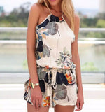 Women's elegant sexy floral print jumpsuits short pants backless Sleeveless Rompers casual slim brand pants KZ607