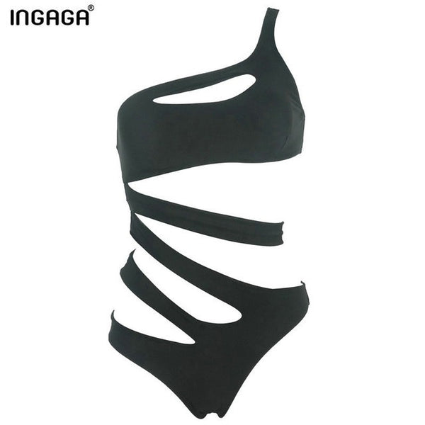 INGAGA 2017 New One Piece Swimsuits Swimwear Removable Padding One Shoulder Hollow Cut Out Sexy Monokini Beachwear