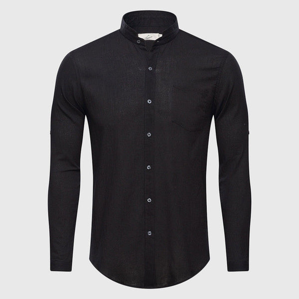 Ultrathin See Through Shirts Men Summer Solid Plain Mandarin Chinese Half Collar Cotton Long Sleeve Society Classic Grandad