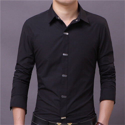 Men's Shirts 2017 Autumn New Arrival High Quality British Style Casual Long Sleeve Solid Male Business Slim Fit Shirt 4XL N511