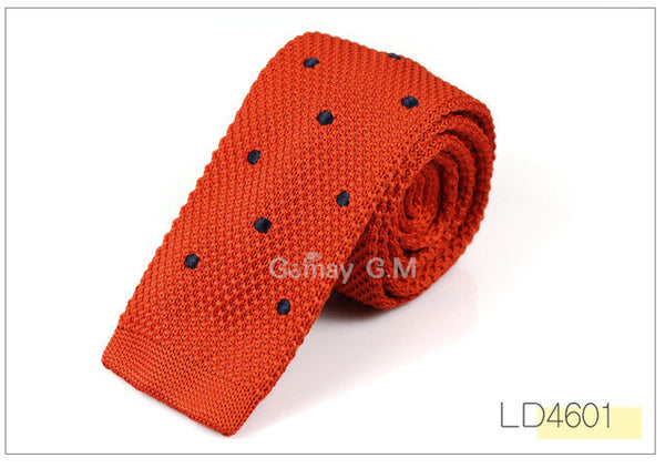 New Men's Knitted woven slim neckties Classic dots ties Fashion Plaid Mans Tie for wedding Male Brand spring casual tie