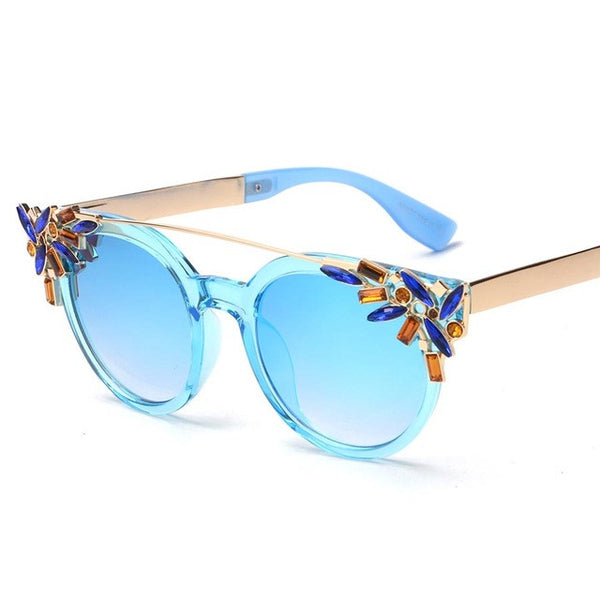 BOUTIQUE Fashion Crystal Decoration Women Cat Eye Sunglasses Women Twin Beam Brand Design Butterfly H1604
