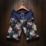 Summer men's large size shorts 2016 new male fashion stitching loose linen shorts Personality trend Comfort Shorts 4XL 5XL