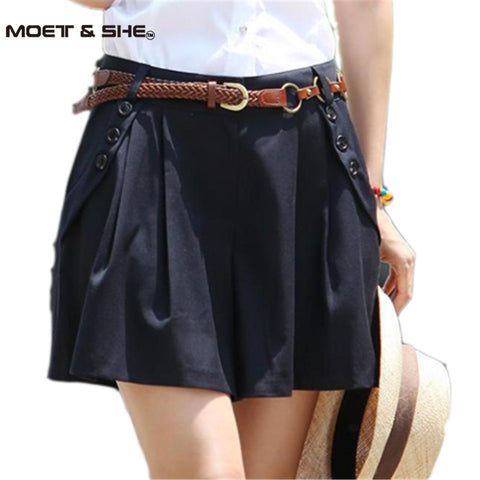 Vintage Women Summer Wide Leg Casual Skirt Shorts Loose Fit Pleated Shorts Culottes Saia Gift Belt S-XXL - Hespirides Gifts - 1