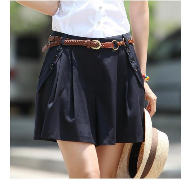 Vintage Women Summer Wide Leg Casual Skirt Shorts Loose Fit Pleated Shorts Culottes Saia Gift Belt S-XXL - Hespirides Gifts - 3