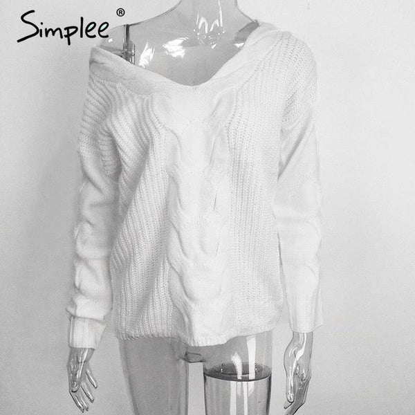 Simplee Winter white knitted sweater women 2016 Autumn hollow out pullover sweater Sexy long sleeve off shoulder sweater jumpers