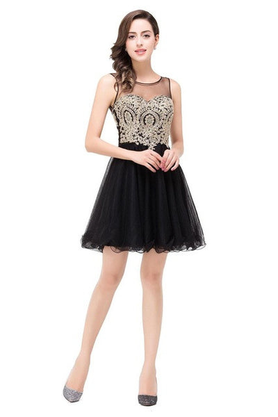 Vestidos de Renda Cheap Golden Lace Black Chiffon Homecoming Dresses 2016 Real Image Short Prom Dresses Vestido de Festa Curto