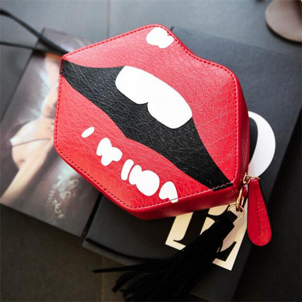 Fashion Tassel Women Single Shoulder Lips Bag Brand PU Leather Lady Crossbody Bag Trend Korean Women Wrist Mini Phone Bag B424