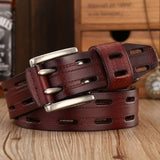brand new fashion leather belt men high quality designer belts women double needle buckle waist strap dress sash jeans size 125
