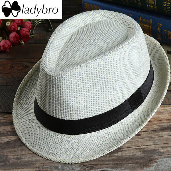 Ladybro Casual Panama Sun Hats Straw Men Beach Summer Fashion Hats For Women Fedora Trilby Gangster Cap Jazz Hats Girl Visor Cap