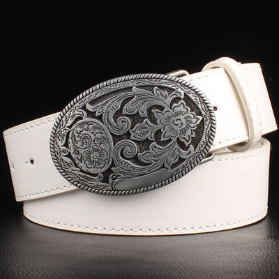 Retro women's belt metal buckle weave Arabesque pattern leather belts jeans trend punk rock strap decoration belt gift for women