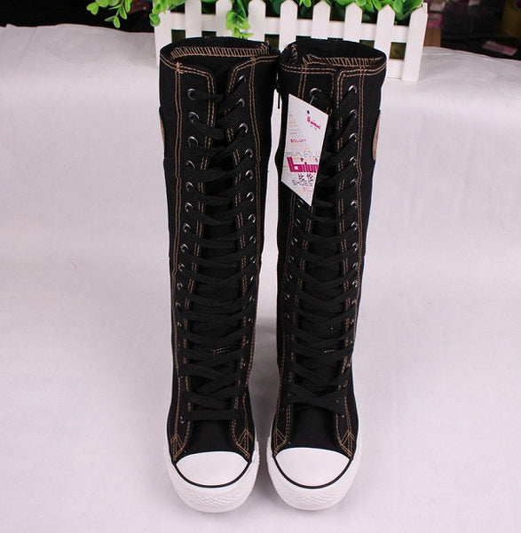hot sale fashion women Canvas Boots Knee High Shoes lady motorcycle boots,size 35-43 White/Black 5A105 - Hespirides Gifts - 3