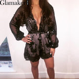 Glamaker Deep v neck sexy sequin black jumpsuit women Tassel waistband party playsuit Summer club elegant jumpsuit romper