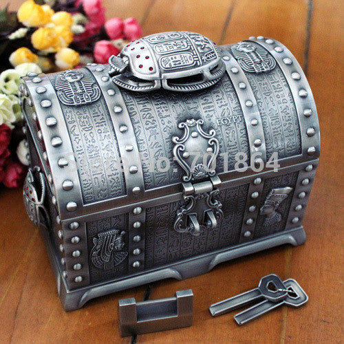 Egyptian Style Big Size Treasure Chest with Lock 2 Layers Vintage Jewelry Box Carrying Case Trinkets Packaging - Hespirides Gifts