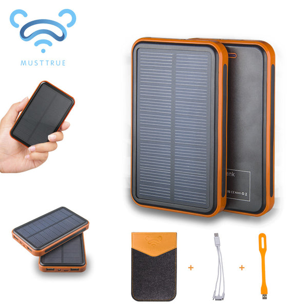MUSTTRUE Super Solar Charger waterproof powerbank ,backup Power Bank bateria external Portable For all Cellphone mobile phone - Hespirides Gifts