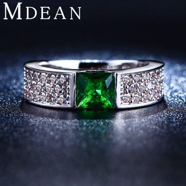 MDEAN Emerald Green Crystal Jewelry white gold plated CZ Diamond Engagement Classic Round Rings For Women MSR210 - Hespirides Gifts