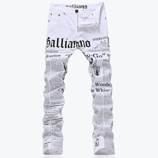 Men's fashion slim fit letters paper print jeans Male plus size casual white denim pants Long trousers - Hespirides Gifts