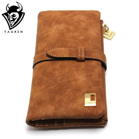 New Fashion Women Wallets Drawstring Nubuck Leather Zipper Wallet Women's Long Design Purse Two Fold More Color Clutch - Hespirides Gifts - 1