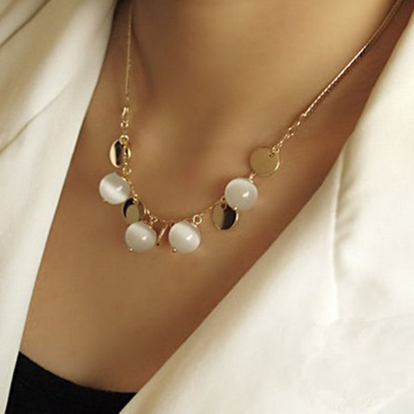 Fashion Bohemia Opal Necklaces&Pendants,White Jade Pulp Pendant 18K Gold Plated Female Sweater Chain Length 40cm=16Inch #N459 - Hespirides Gifts