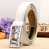 Lovely Style Automatic Buckle Belt Women 100% Cow Genuine Leather Belts Solid Casual Brand Famous Strap Waist 2.4cm 90-120cm