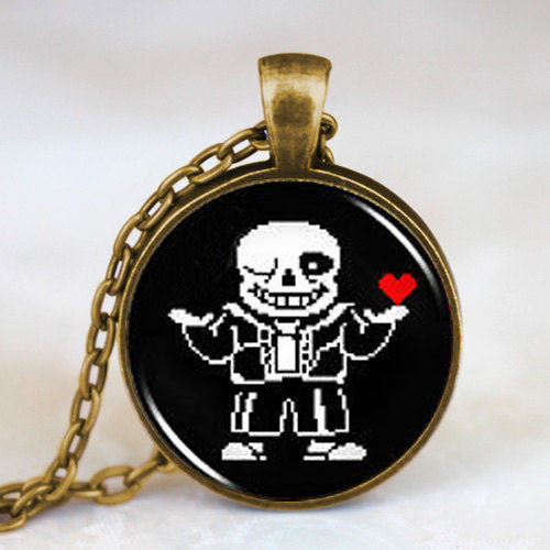 Undertale Sans 2 Game Gaming Men Handmade Fashion Necklace brass silver Pendant steampunk Jewelry Gift women new chain toy mens - Hespirides Gifts