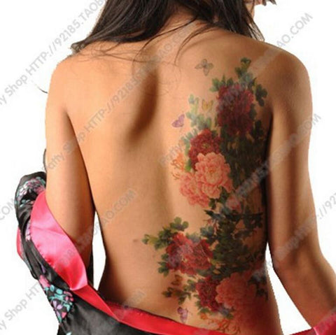 Floral Tattoo Flower Peony Phoenix Butterfly Back Waterproof Large Temporary Tattoo Sticker For Body Art  10 Kinds Of Styles