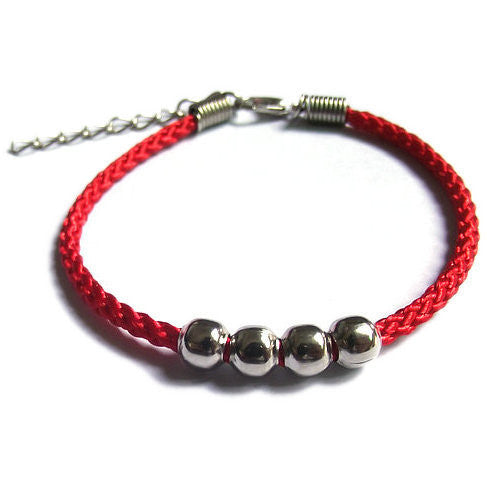 National wind men and women lovers bracelet hand rope Handmade beaded alloy four bead red rope bracelet can be adjusted - Hespirides Gifts - 2