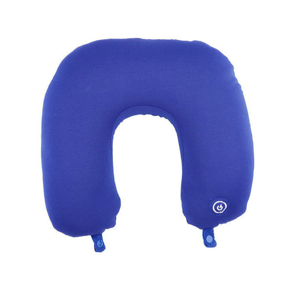 U Shaped Neck Pillow Rest Neck Massage Airplane Car Travel Pillow Bedding Microbead Battery Operated Vibrating