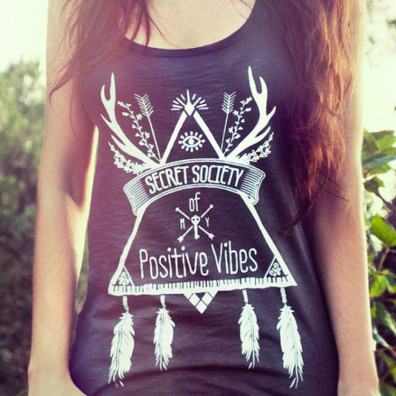European T shirt Summer Women SECRET SOCIETY OF POSITIVE VIBES Print Punk Rock Fashion Graphic Tees Women Designer Clothing - Hespirides Gifts - 2
